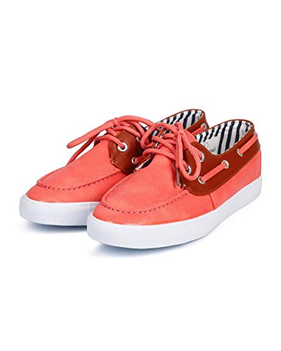 Shoe Up Tone Two Classic Misbehave Boat Leatherette DI89 Coral Women Lace wYwzqF
