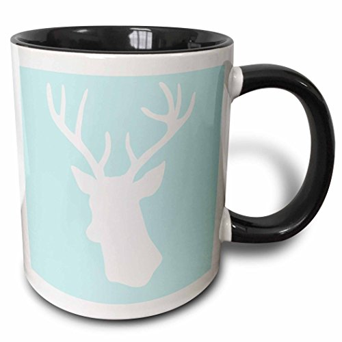 3dRose mug_155672_4 White Deer Head Silhouette on Mint Blue Stag Antlers Stylish Modern Pastel Turquoise Teal Aqua Two Tone Black Mug, 11 oz, Black/White Pastel 11 Ounce Mug