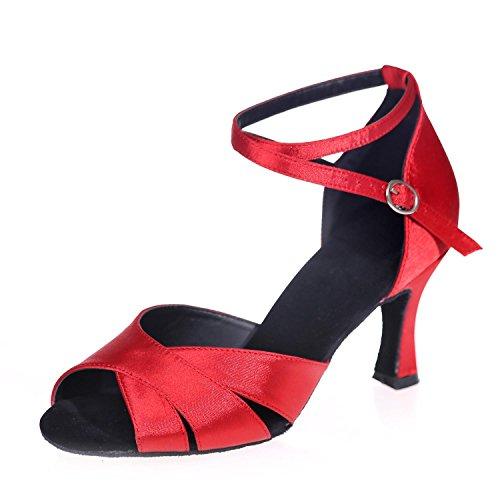 L@YC Zapatillas De Baile Latino Moderno De Las Mujeres Sandalias De Cuero Se abrochan Grueso Con Personalizable Red