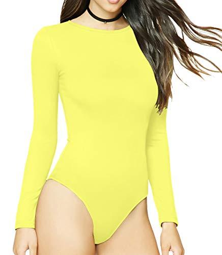 - MANGDIUP Women's Round Collar Long Sleeve Elastic Bodysuit Jumpsuit (Yellow1, L)