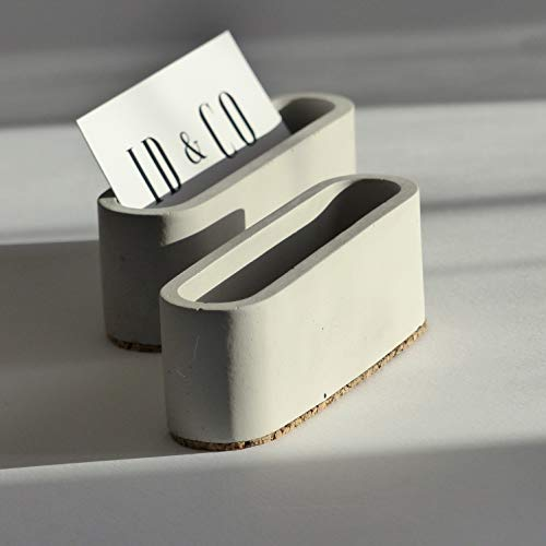 Grey Concrete Business Card Holder for Desk