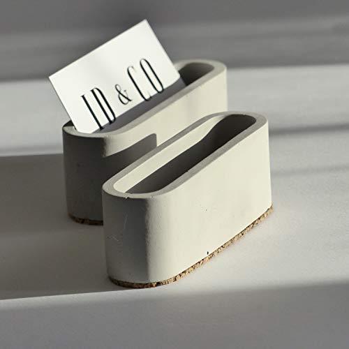 Gray Concrete Business Card Holder for Desk -