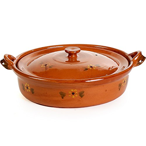 Ancient Cookware Mexican Flat Clay Cazuela, 6 qt