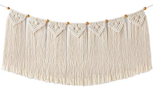 Mkono Macrame Woven Wall Hanging Fringe Garland Banner Bohemian Wall Decor Woven Home Decoration for Apartment Bedroom Living Room Gallery Baby Nursery, 17