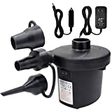 Air Pump Air Mattress Pump for Inflatable Portable 110V AC/12V DC Electric Air Inflator Pump with 3 Nozzles and Car Plug for Outdoor Camping Inflatable Cushions Air Beds Boats Swimming Ring Pool