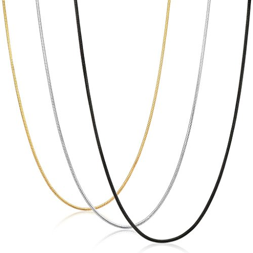 Steel Snake - FIBO STEEL 0.9mm Stainless Steel Mens Womens Necklace Snake Chain 3 Pcs a Set, 28 inches