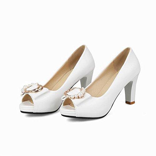 Mee Shoes Damen High Heels Peep Toe mit Perlen Pumps Weiß