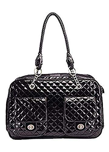 G-Petbag Globalwells White/Black Quilted Designer Inspired Faux Patent Leather Dog & Cat Pet Carrier Tote Handbag