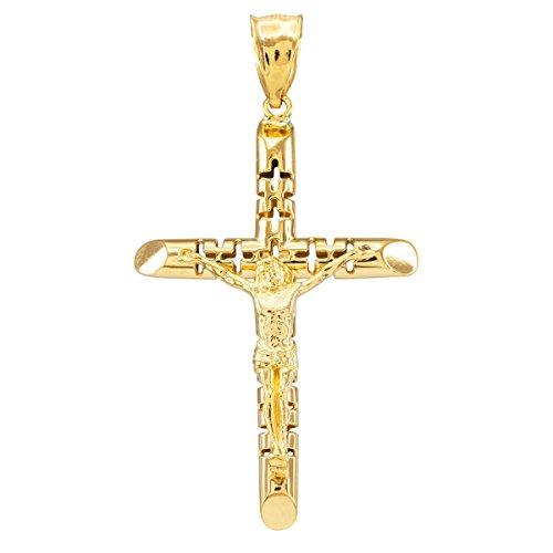 10 ct 471/1000 Or Jaune Crucifix - La Love Crucifix Pendentif