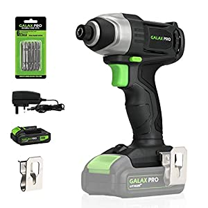 GALAX PRO 20V Lithium Ion 1/4″ Hex Cordless Impact Driver with LED Work Light, 6pcs Screwdriver Bits, Variable Speed (0-2800RPM)- 1.3Ah Battery and Charger Included