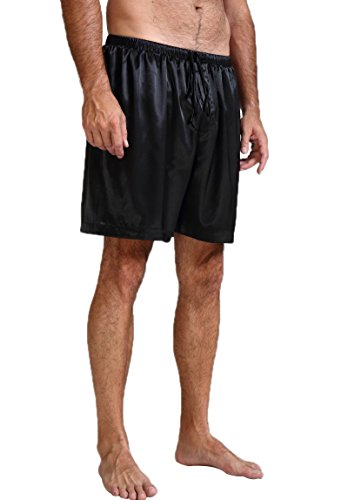 Mens Silk Satin Pajamas Pyjamas Shorts Lounge Beach Shorts Boxer Black ()