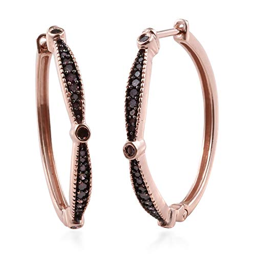 Purple Diamond Hoops Hoop Earrings 925 Sterling Silver Vermeil Rose Gold Jewelry for Women Ct 0.5