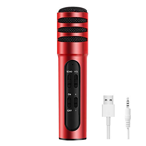 Podcast Studio Recording Condenser Microphone-USB Port Plug and Play Built-in Reverberating Sound Card Echo Recording Compatible with Cellphone IOS/Android Tablets Mac and PC Windows(red)