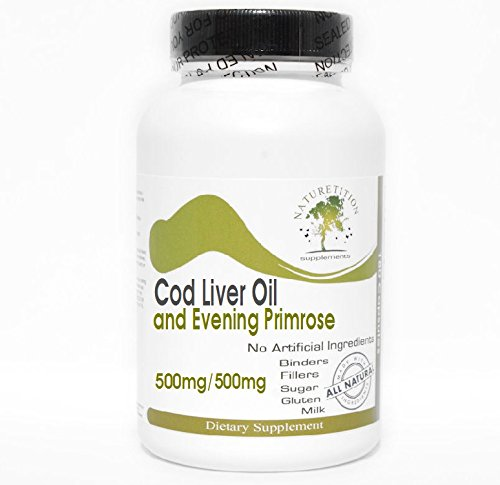 Primrose Evening Oil Cod Liver (Cod Liver Oil Concentrate 500mg and Evening Primrose 500mg ~ 200 Capsules - No Additives ~ Naturetition Supplements)