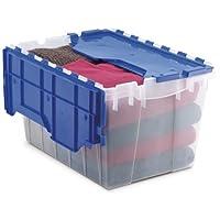 Akro-Mils 66486 CLDBL KeepBox de almacenamiento de plástico de 12 galones con tapa incorporada, 21-1 /2 pulgadas por 15 pulgadas por 12-1 /2 pulgadas, semi transparente