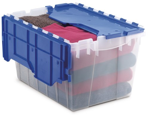 Akro-Mils 66486 CLDBL 12-Gallon Plastic Storage KeepBox with Attached Lid, 21-1/2-Inch by 15-Inch by 12-1/2-Inch, Semi - Storage Attached Lid