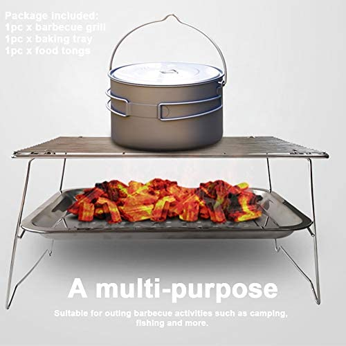 SHJR 3pcs BBQ Portable Grill Net Barbecue au Charbon Barbecue Pliable en Acier Inoxydable Grill Accessoires pour Kitchen Party Camping en Plein air Accueil