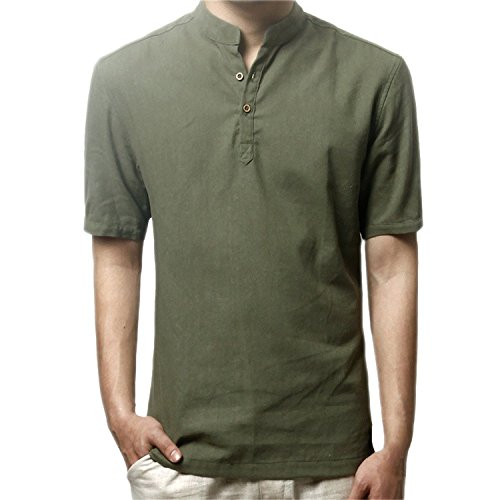 SDHEIJKY Fashion Men Summer Breathable Banded Stand Collar Short Sleeve Linen Flax T-Shirt Army GreenMedium -