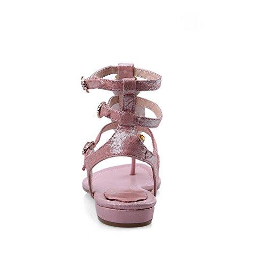 1TO9 Womens Rhinestones Double Breasted Bead Sheepskin Sandals Pink GU0Eosd03