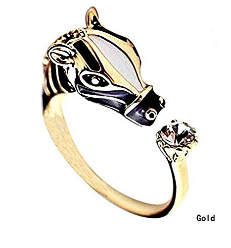 Nice1159 Zebra Animal Rings Horse Head Crystal Ring Adjustable- Charm Ring Gold New (Only 10 pcs Left)