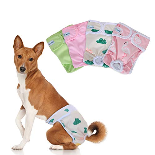 Teamoy Washable Female Dog Diapers (Pack of 4), Reuable Doggie Diapers Wraps for Female Dogs