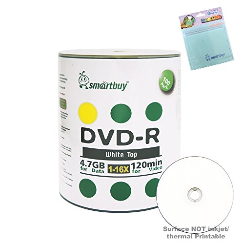 Smartbuy 100-disc 4.7GB/120min 16x DVD-R White Top Blank Media Record Disc + Free Micro Fiber Cloth by Smartbuy