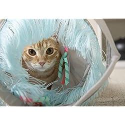 SmartyKat Fringe Frenzy Cat Actividad Túnel, Gris/Azul