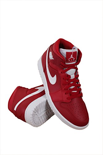 JORDAN MENS AIR JORDAN 1 MID GYM RED WHITE WHITE SIZE 13 by Jordan