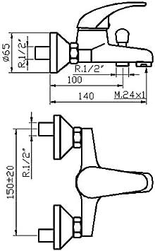 BOET 65555 Grifo Mezclador Exterior con Inversor para Baño y Ducha ...