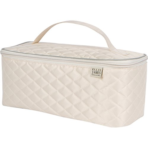 Ellis James Designs Large Travel Makeup Bag Organizer - Cosmetic Train Case Toiletry Bags for Women - Cream - With Handle & Make Up Brush Holders - Professional Hair Dryer Cases & Beauty Storage (Sensational Case White)