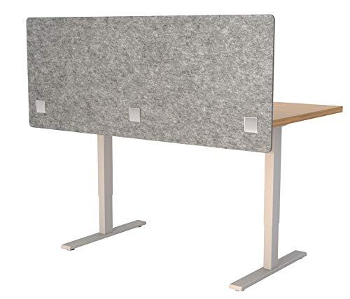 "VaRoom Acoustic Partition, Sound Absorbing Desk Divider – 60"" W x 24""H Privacy Desk Mounted Cubicle Panel, Ash Grey ()"