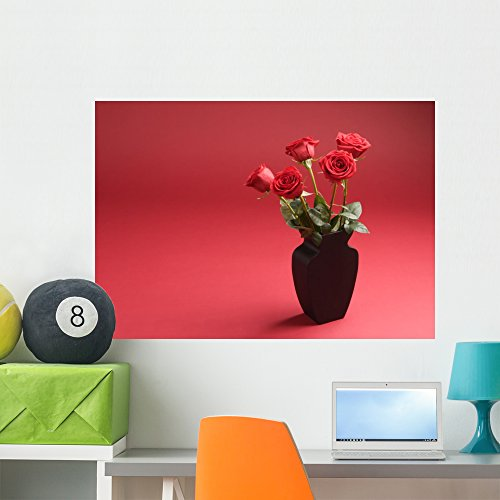 (Wallmonkeys Five Roses Vase Red Wall Mural Peel Stick Floral Graphic (36 in W x 25 in H) WM193025)