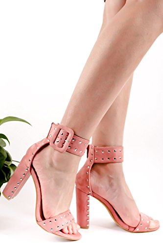 Lolli Couture Suede Materiaal Open Teen Enkelbandje Klinknagel Ontwerp Chunky Hoge Hak Roze