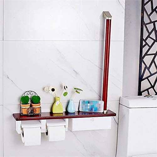 FSLJH Solid Wood Multi-Function Bathroom Grab Bar, with Handle Two-Speed Reel Commercial Household Bathroom Towel Rack Toilet Paper Holder Storage Rack 6070cm