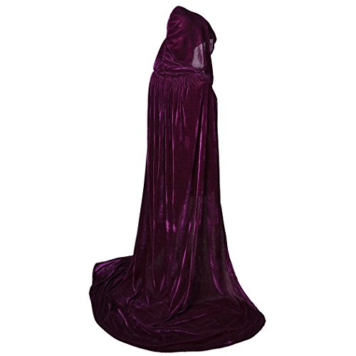 BIGXIAN Extra Long Hooded Velvet Cloak Halloween Christmas Fancy Cape Various Colors Purple