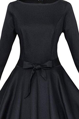 Azbro Vestido Vintage Estilo Burbuja Cintura Con Bowknot Black