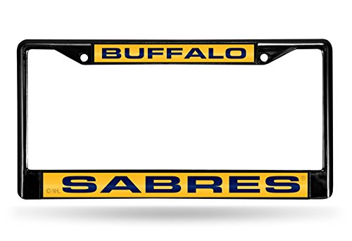 Rico Industries NHL Buffalo Sabres Laser Cut Inlaid Standard Chrome License Plate Frame, 6