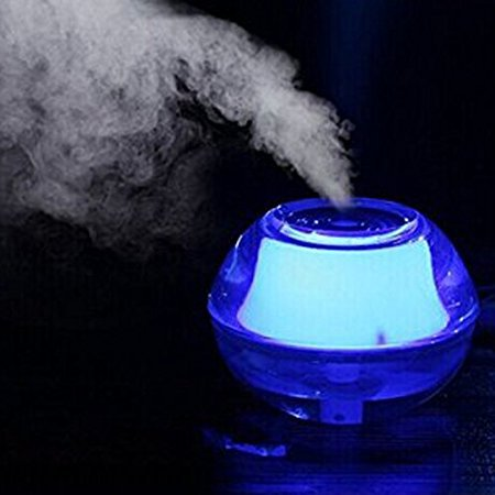 ThreeH Best Mist Humidifier for Meditation Dry Sinuses Eyes Nose Throat Skin - Premium Mini Portable Quiet Diffuser Night Light with Auto Safety Shut-off USB Cable Adapter H-H012Blue