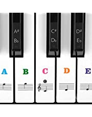 Piano Stickers for Keys, Syviva Piano Keyboard Stickers for 88/61/54/49/37 Full Set Black and White Key Stickers Removable for New Piano Learners and Kids - Colorful