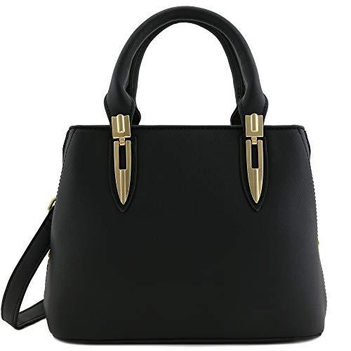 Expandable Mini Satchel Top Handle Saffiano Bag with Shoulder Strap Black