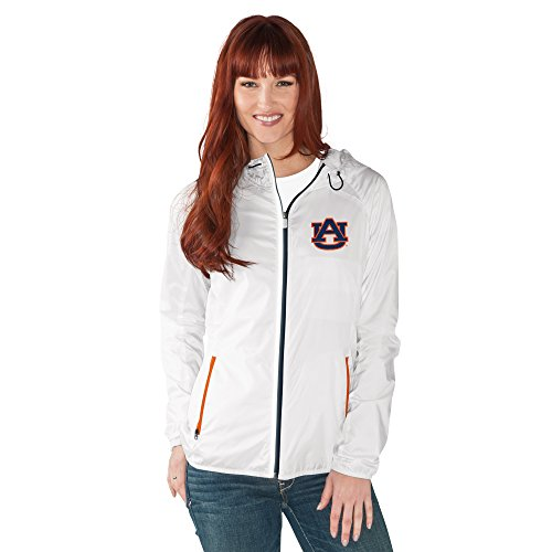 - GIII For Her NCAA Auburn Tigers Women's Spring Training Light Weight Full Zip Jacket, Medium, White