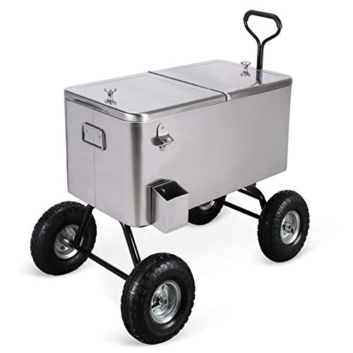 y Cooler Rolling Portable Wagon Ice Chest Built-In Bottle Opener Cap Catch Tray Rear Drain Spout Ideal For Outdoor Picnic Camping Garden Patio Backyard Home Summer Time Parties Use ()