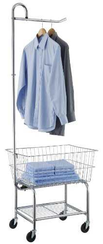Organize It All Rolling Chrome Commercial Laundry Butler with Storage Rack by Organize It All