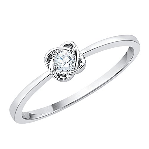 Diamond Promise Ring in Sterling Silver (1/10 cttw) (GH-Color, I2/I3-Clarity) (Size-9.75) by KATARINA