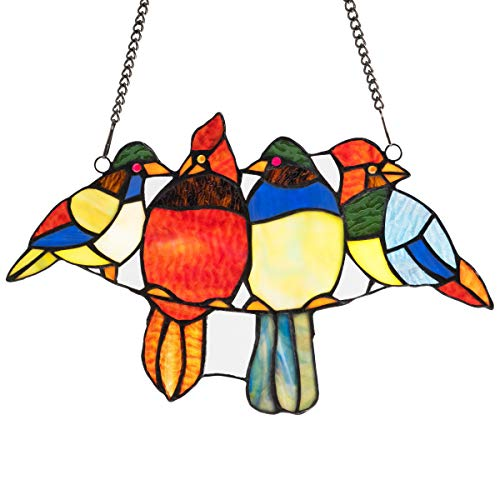 stained glass birds window panel - 8