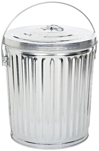 Witt Industries 10GPCL Galvanized Steel 10-Gallon Light Duty Waste Pail and Lid, Round,  16