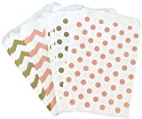Outside the Box Papers Polka Dot Paper Treat Sacks 5.5 x 7.5 48 Pack Peach, Gold, White