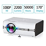 URPIRE Home Theater Projector, 2200 Lumens LCD Video Projector,Mini Projector Support 1080P HDMI, USB, VGA, AV, SD Card for Home Cinema,Party and Games