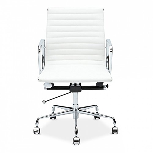 Chairs Designer Italian Office - LIVING TRENDS Mid-Back Ribbed Office Chair - Genuine Top Grain Italian Leather Aluminium Frame - White