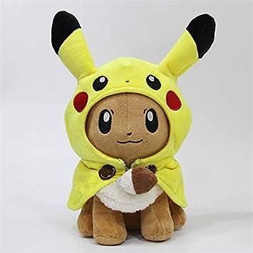 dingtian Juguete de Peluche 28 Cm Bolsillo Animales Pikachu Cosplay Eevee Gengar Muñecas De Peluche Eevee con Abrigo Cos Pikachu Juguetes Regalo para Niños